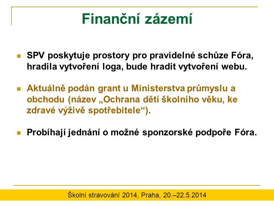 Finanční zázemí SPV poskytuje prostory pro pravidelné schůze Fóra, hradila vytvoření loga, bude hradit vytvoření webu. Aktuálně podán grant u Minister