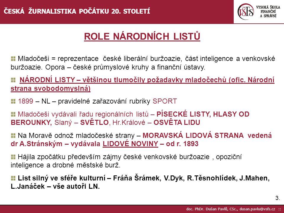 4.4.doc. PhDr. Dušan Pavlů, CSc., dusan.pavlu@vsfs.cz :: ČESKÁ ŽURNALISTIKA POČÁTKU 20.