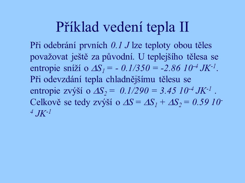 Příklad vedení tepla II Při odebrání prvních 0.1 J lze teploty obou těles považovat ještě za původní.