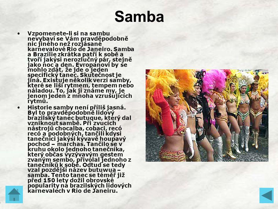 Samba Vzpomenete-li si na sambu nevybaví se Vám pravděpodobně nic jiného než rozjásané karnevalové Rio de Janeiro. Samba a Brazílie zkrátka patří k so