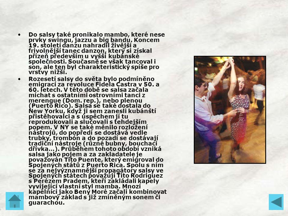 Do salsy také pronikalo mambo, které nese prvky swingu, jazzu a big bandu. Koncem 19. století danzu nahradil živější a frivolnější tanec danzon, který