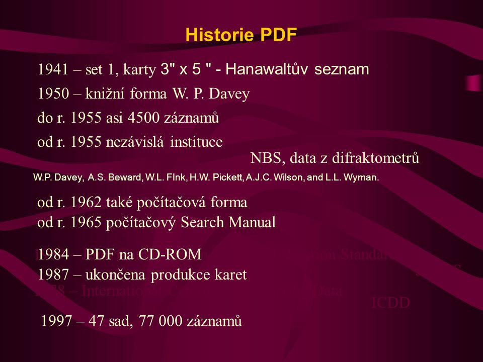 PDF - 2 85 000 záznamů 46 000 záznamů spočtených z ICSD (sady od 70 000) Každý rok přibývá cca 2500 experimentálních a 4 000 spočtených záznamů Minimum Seznam d – I Chemický vzorec Jméno Identifikační číslo Zdroj Další údaje Prostorová grupa, základní buňka Millerovy indexy Fyzikální konstanty Komentáře k přípravě a chemické analýze