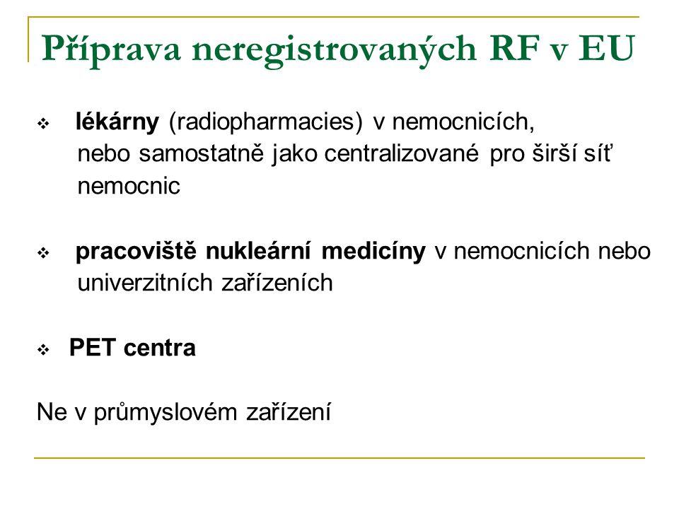 Příprava neregistrovaných RF v EU  lékárny (radiopharmacies) v nemocnicích, nebo samostatně jako centralizované pro širší síť nemocnic  pracoviště n