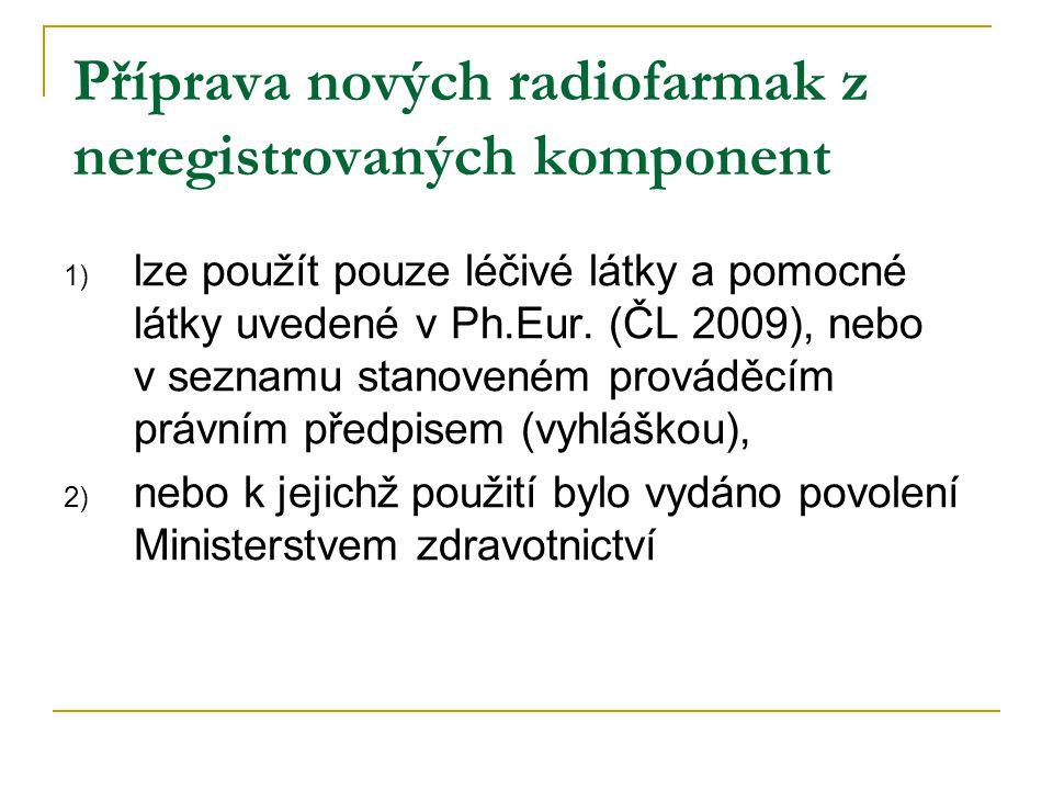 Příprava nových radiofarmak z neregistrovaných komponent 1) lze použít pouze léčivé látky a pomocné látky uvedené v Ph.Eur. (ČL 2009), nebo v seznamu