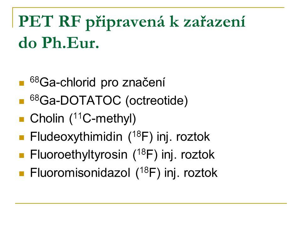 PET RF připravená k zařazení do Ph.Eur. 68 Ga-chlorid pro značení 68 Ga-DOTATOC (octreotide) Cholin ( 11 C-methyl) Fludeoxythimidin ( 18 F) inj. rozto