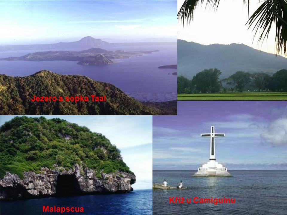 Hora Samat Kříž u Camiguinu Malapscua Jezero a sopka Taal