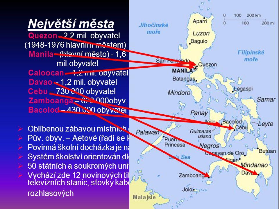 Politika: Hlavní město: Manila (1 895 mil.obyv.) Správní členění: 79 provincií (16 regionů+region hl.m.) Vyhlášení nezávislosti: 1946 Forma vlády: prezidentská Státní zřízení: republika Hlava státu: Gloria MACAPAGAL-ARROYO (od 20.