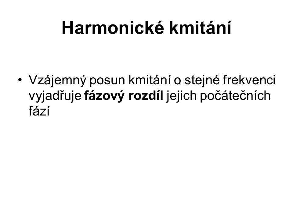 Harmonické kmitání Vzájemný posun kmitání o stejné frekvenci vyjadřuje fázový rozdíl jejich počátečních fází