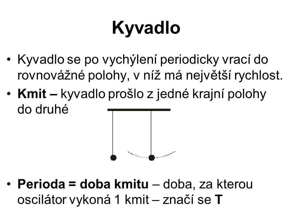 Kyvadlo Kyvadlo se po vychýlení periodicky vrací do rovnovážné polohy, v níž má největší rychlost. Kmit – kyvadlo prošlo z jedné krajní polohy do druh