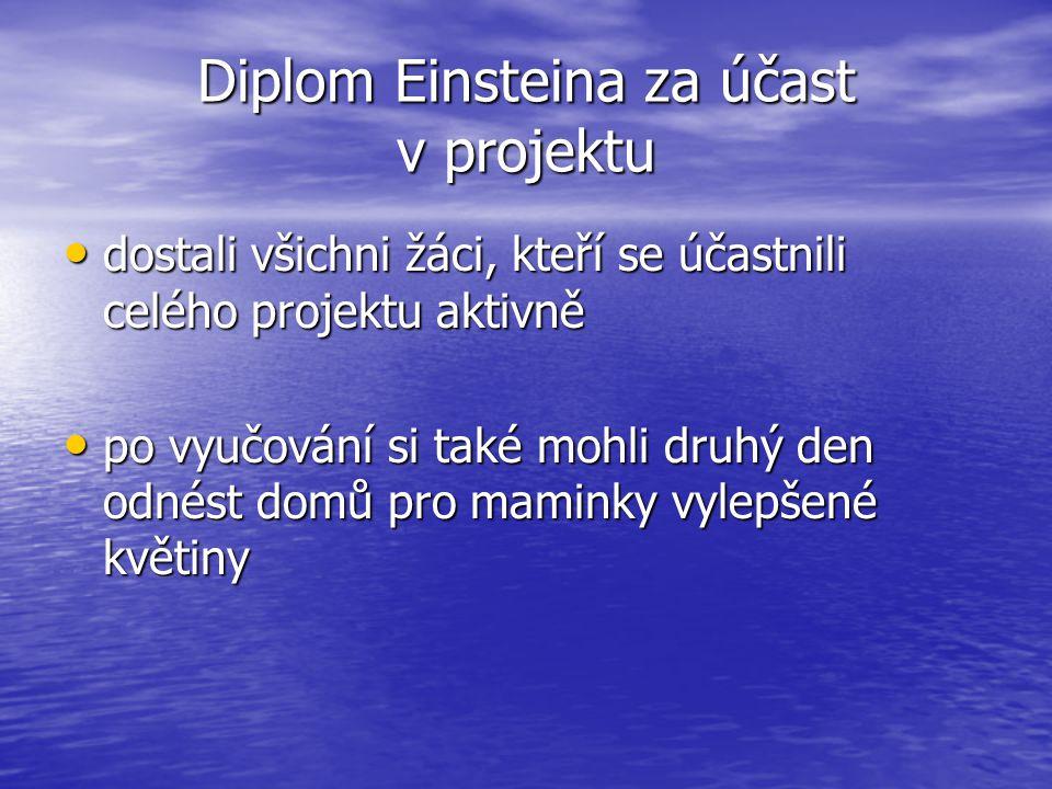 Diplom Einsteina za účast v projektu dostali všichni žáci, kteří se účastnili celého projektu aktivně dostali všichni žáci, kteří se účastnili celého