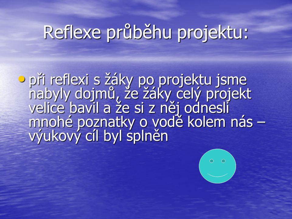 Reflexe průběhu projektu: při reflexi s žáky po projektu jsme nabyly dojmů, že žáky celý projekt velice bavil a že si z něj odnesli mnohé poznatky o v