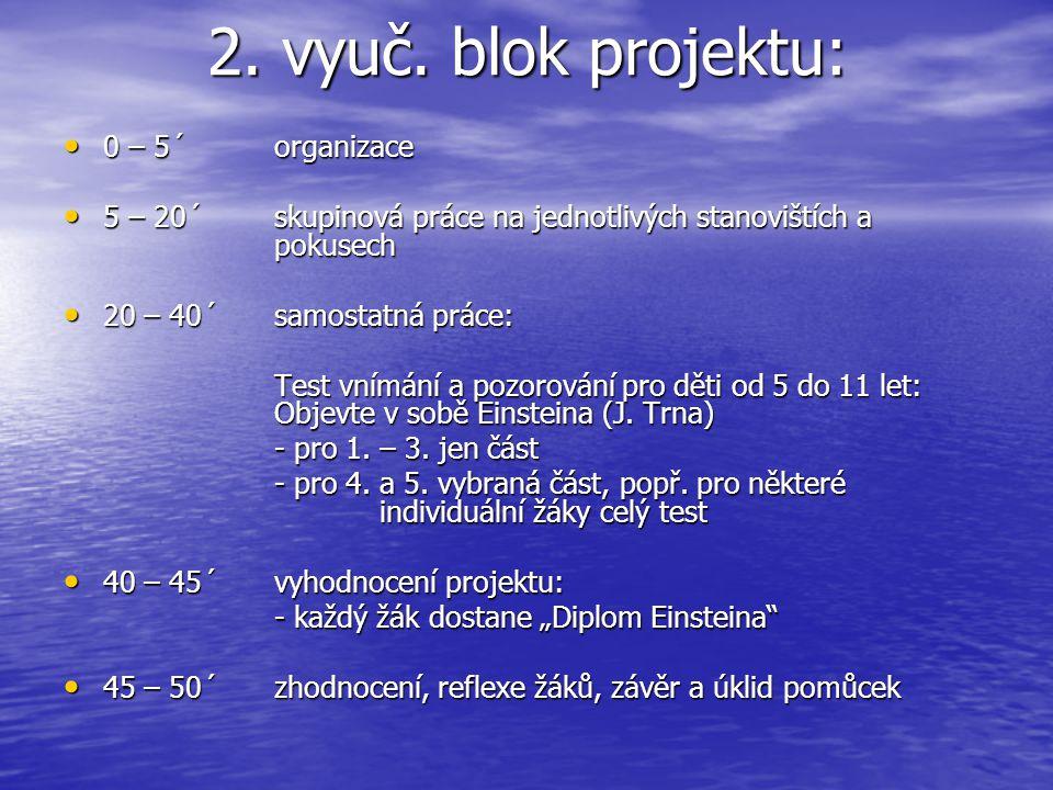 2. vyuč. blok projektu: 0 – 5´organizace 0 – 5´organizace 5 – 20´skupinová práce na jednotlivých stanovištích a pokusech 5 – 20´skupinová práce na jed
