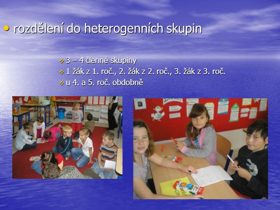 rozdělení do heterogenních skupin rozdělení do heterogenních skupin  3 – 4 členné skupiny  1 žák z 1. roč., 2. žák z 2. roč., 3. žák z 3. roč.  u 4
