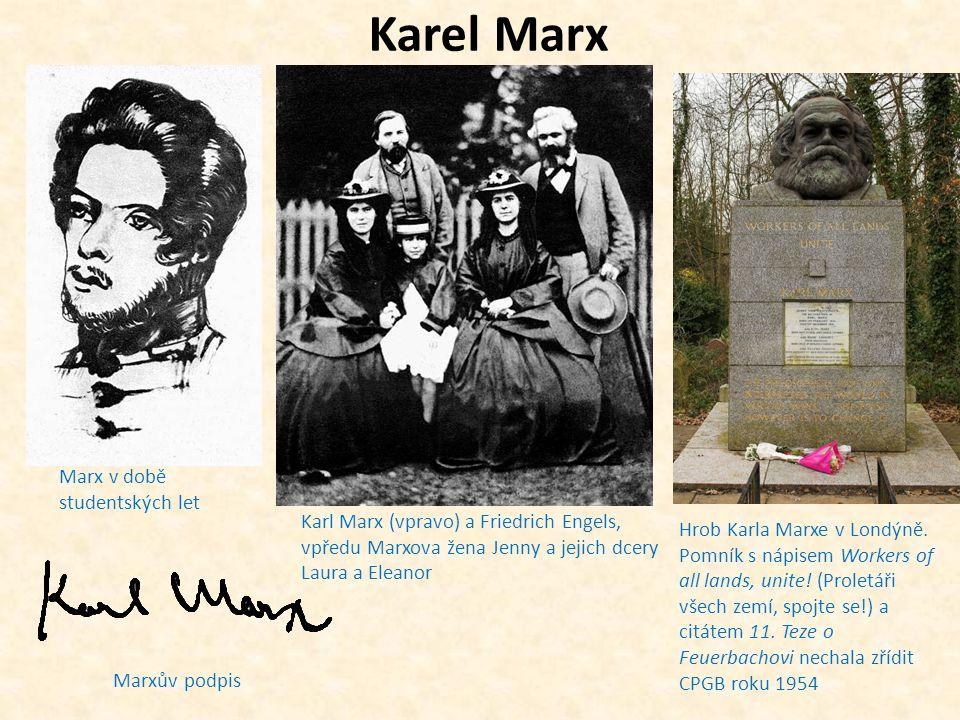 Karl Marx rukopis Manifestu komunistické strany titulní strana prvního vydání Kapitálu z roku 1867 jedenáctá teze o Feuerbachovi.