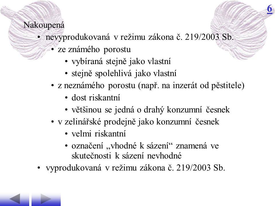 6 nevyprodukovaná v režimu zákona č.219/2003 Sb.