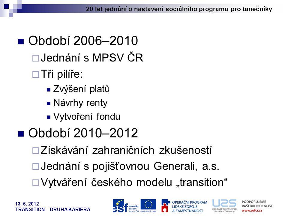 20 let jednání o nastavení sociálního programu pro tanečníky 13. 6. 2012 TRANSITION – DRUHÁ KARIÉRA Období 2006–2010  Jednání s MPSV ČR  Tři pilíře: