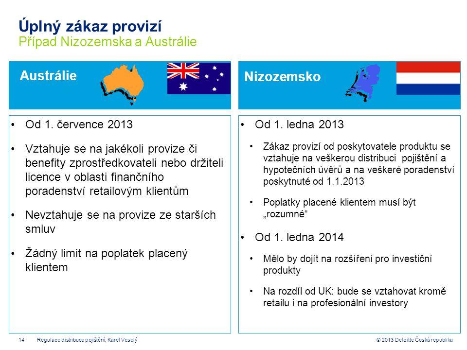 14© 2013 Deloitte Česká republika Úplný zákaz provizí Případ Nizozemska a Austrálie Od 1. ledna 2013 Zákaz provizí od poskytovatele produktu se vztahu