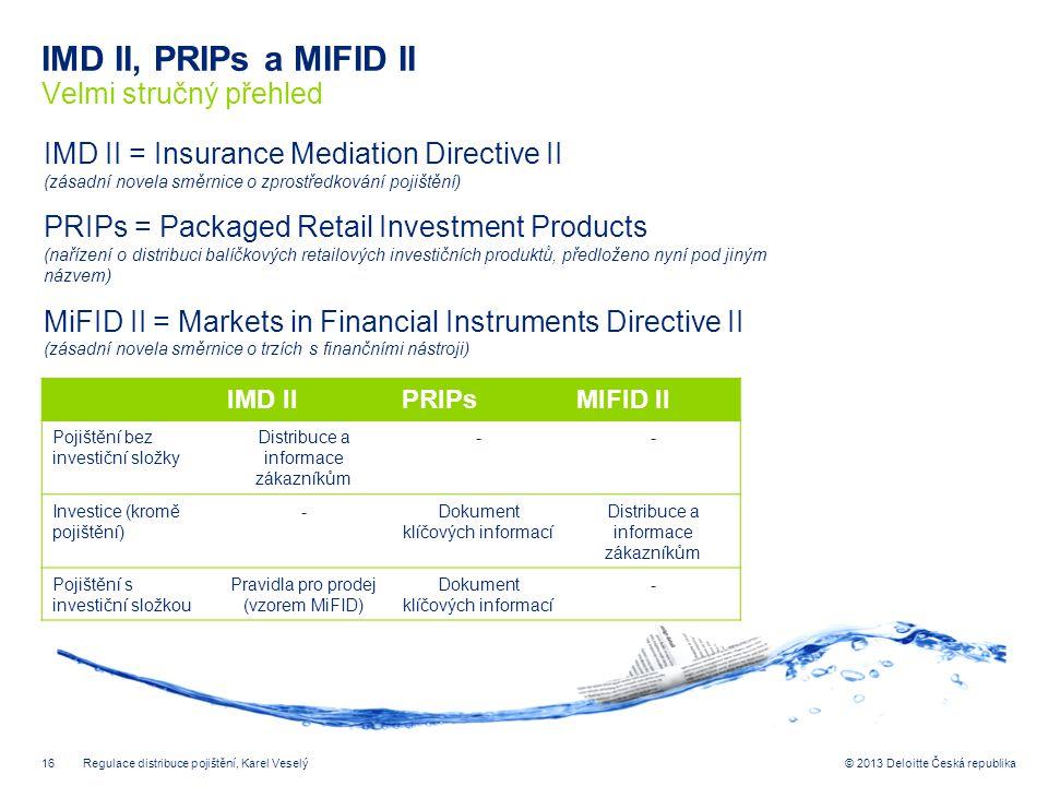 16© 2013 Deloitte Česká republika IMD II, PRIPs a MIFID II Velmi stručný přehled 32 690 Regulace distribuce pojištění, Karel Veselý IMD IIPRIPsMIFID I