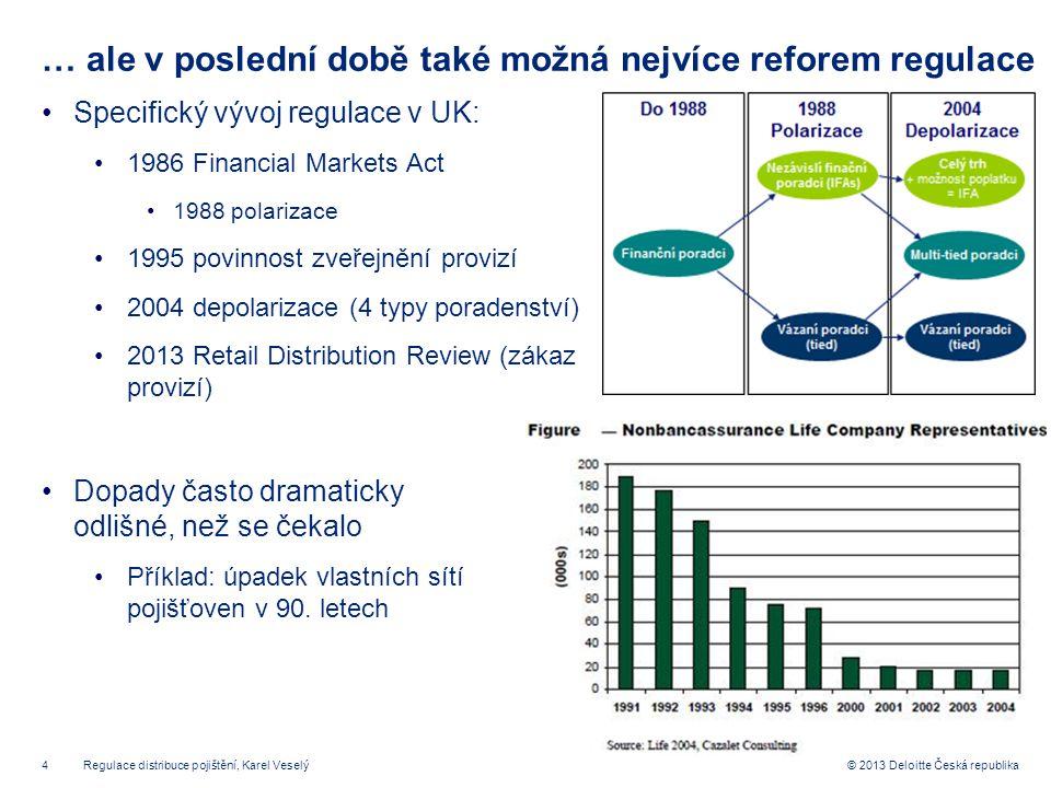 4© 2013 Deloitte Česká republika … ale v poslední době také možná nejvíce reforem regulace Specifický vývoj regulace v UK: 1986 Financial Markets Act