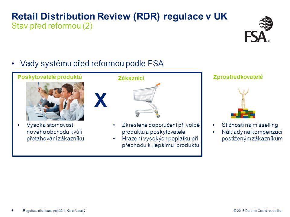 7© 2013 Deloitte Česká republika Retail Distribution Review (RDR) regulace v UK Cíle reformy distribuce retailových investičních produktů Retail distribution review (RDR) Zvýšit srozumitelnost zprostředkovatel- ských služeb (independent vs.