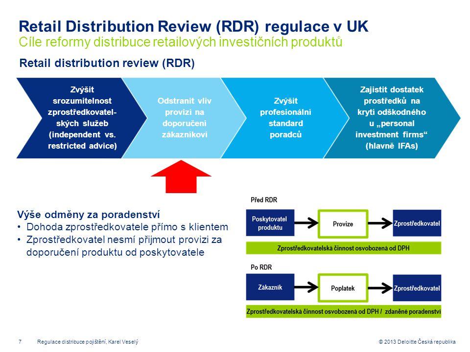 7© 2013 Deloitte Česká republika Retail Distribution Review (RDR) regulace v UK Cíle reformy distribuce retailových investičních produktů Retail distr