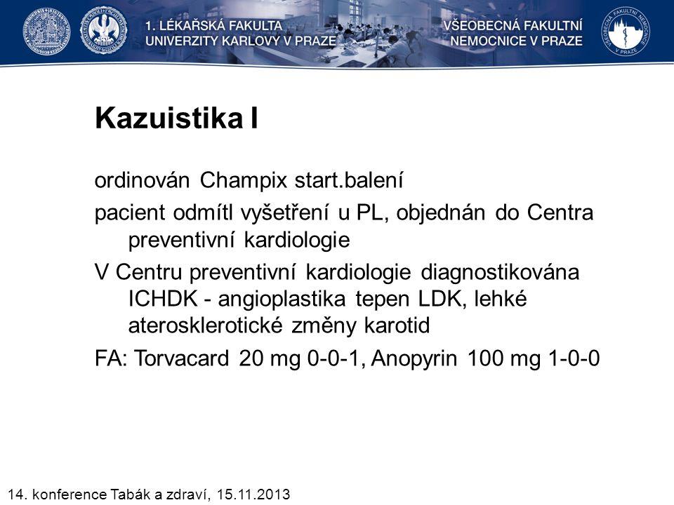 Kazuistika I ordinován Champix start.balení pacient odmítl vyšetření u PL, objednán do Centra preventivní kardiologie V Centru preventivní kardiologie