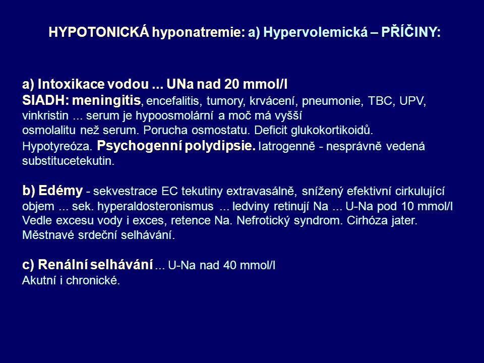 a) Intoxikace vodou... UNa nad 20 mmol/l SIADH: meningitis, encefalitis, tumory, krvácení, pneumonie, TBC, UPV, vinkristin... serum je hypoosmolární a