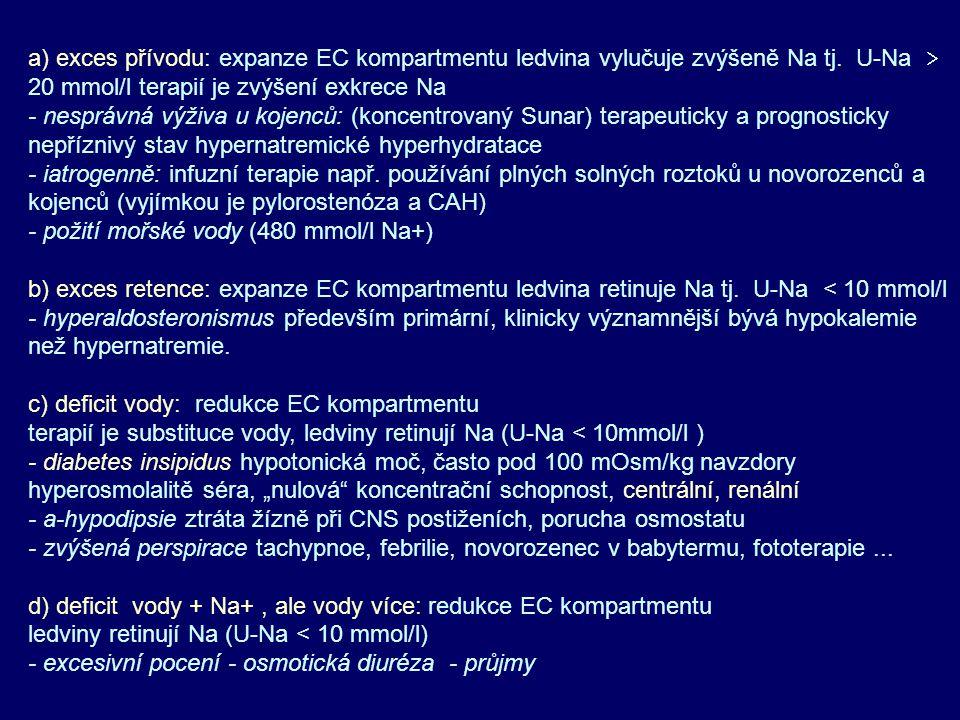 a) exces přívodu: expanze EC kompartmentu ledvina vylučuje zvýšeně Na tj. U-Na  20 mmol/l terapií je zvýšení exkrece Na - nesprávná výživa u kojenců: