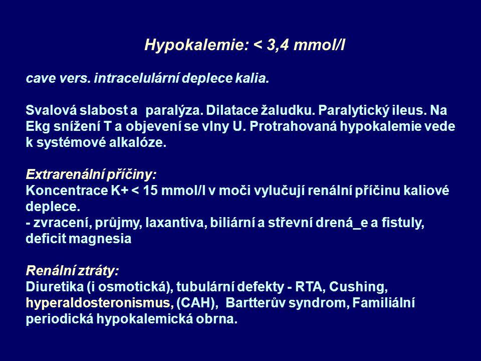Hypokalemie: < 3,4 mmol/l cave vers. intracelulární deplece kalia. Svalová slabost a paralýza. Dilatace žaludku. Paralytický ileus. Na Ekg snížení T a