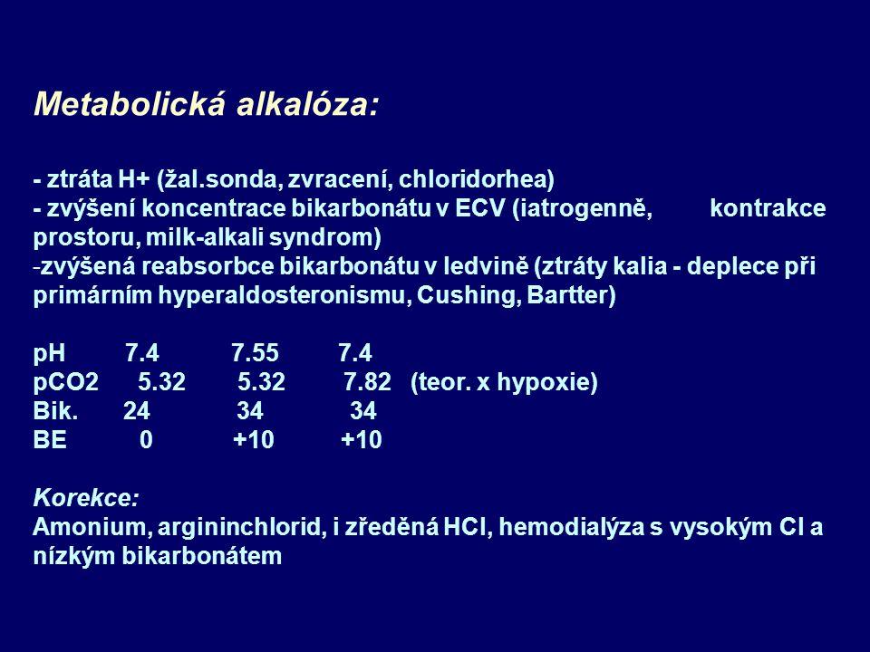 Metabolická alkalóza: - ztráta H+ (žal.sonda, zvracení, chloridorhea) - zvýšení koncentrace bikarbonátu v ECV (iatrogenně, kontrakce prostoru, milk-alkali syndrom) -zvýšená reabsorbce bikarbonátu v ledvině (ztráty kalia - deplece při primárním hyperaldosteronismu, Cushing, Bartter) pH 7.4 7.55 7.4 pCO2 5.32 5.32 7.82 (teor.