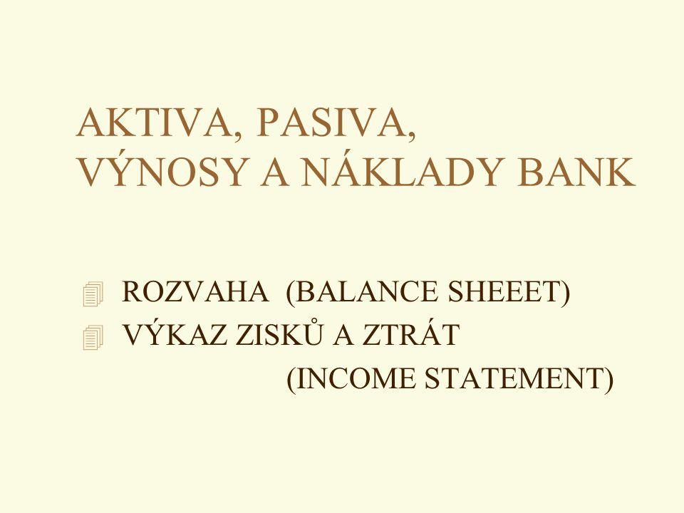 AKTIVA, PASIVA, VÝNOSY A NÁKLADY BANK 4 ROZVAHA (BALANCE SHEEET) 4 VÝKAZ ZISKŮ A ZTRÁT (INCOME STATEMENT)