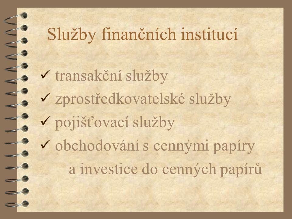 Služby finančních institucí transakční služby zprostředkovatelské služby pojišťovací služby obchodování s cennými papíry a investice do cenných papírů