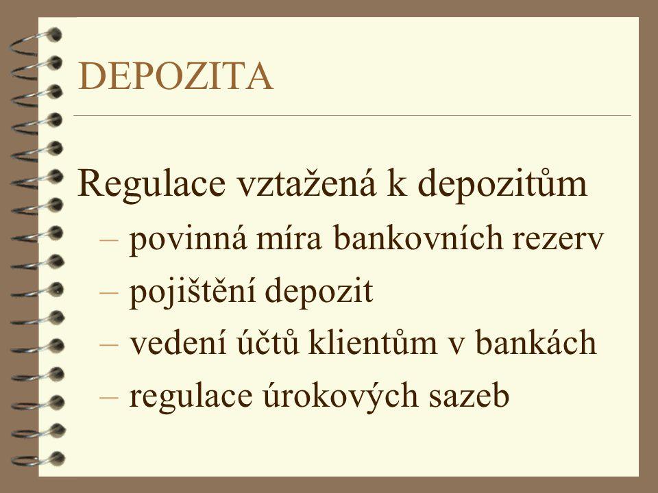 DEPOZITA Regulace vztažená k depozitům – povinná míra bankovních rezerv – pojištění depozit – vedení účtů klientům v bankách – regulace úrokových saze