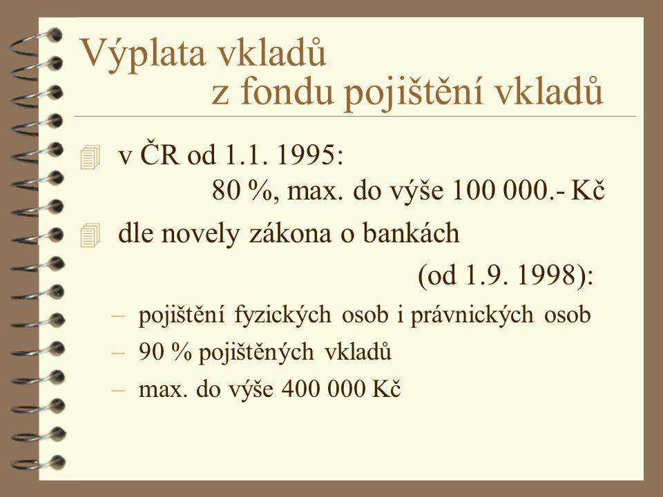 Výplata vkladů z fondu pojištění vkladů 4 v ČR od 1.1. 1995: 80 %, max. do výše 100 000.- Kč 4 dle novely zákona o bankách (od 1.9. 1998): – pojištění