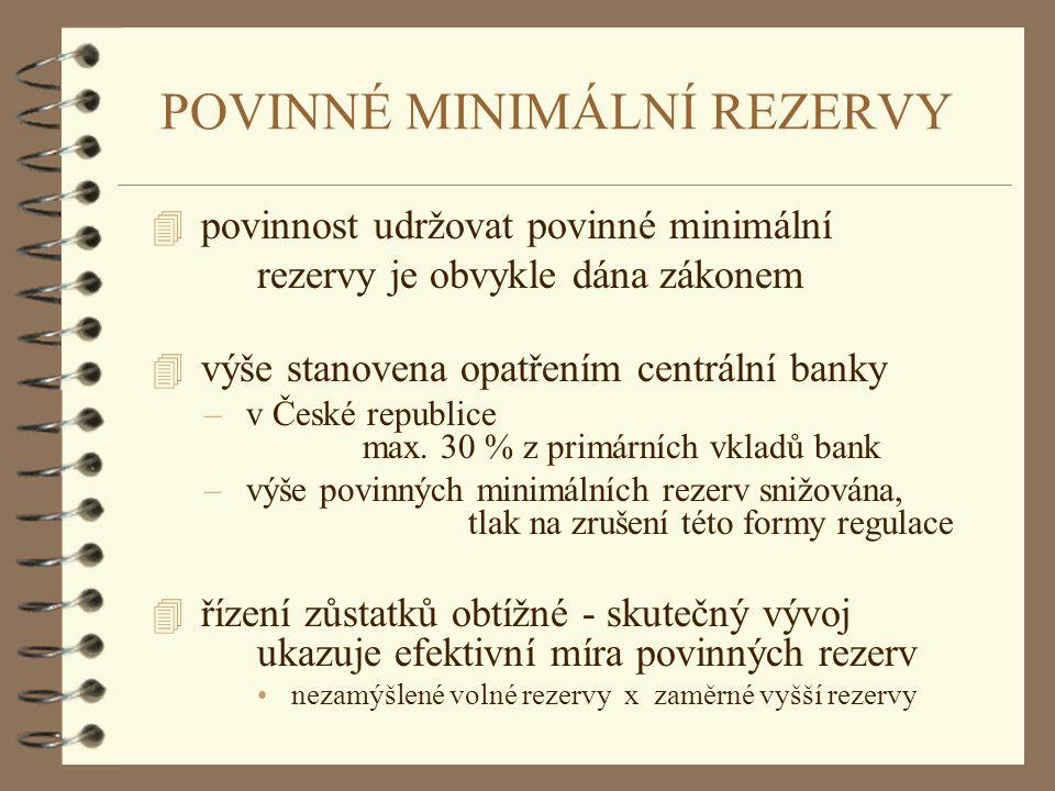 POVINNÉ MINIMÁLNÍ REZERVY 4 povinnost udržovat povinné minimální rezervy je obvykle dána zákonem 4 výše stanovena opatřením centrální banky – v České