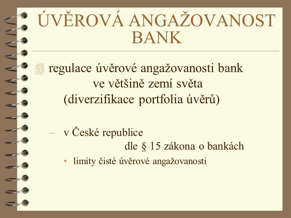 ÚVĚROVÁ ANGAŽOVANOST BANK 4 regulace úvěrové angažovanosti bank ve většině zemí světa (diverzifikace portfolia úvěrů) –v České republice dle § 15 záko