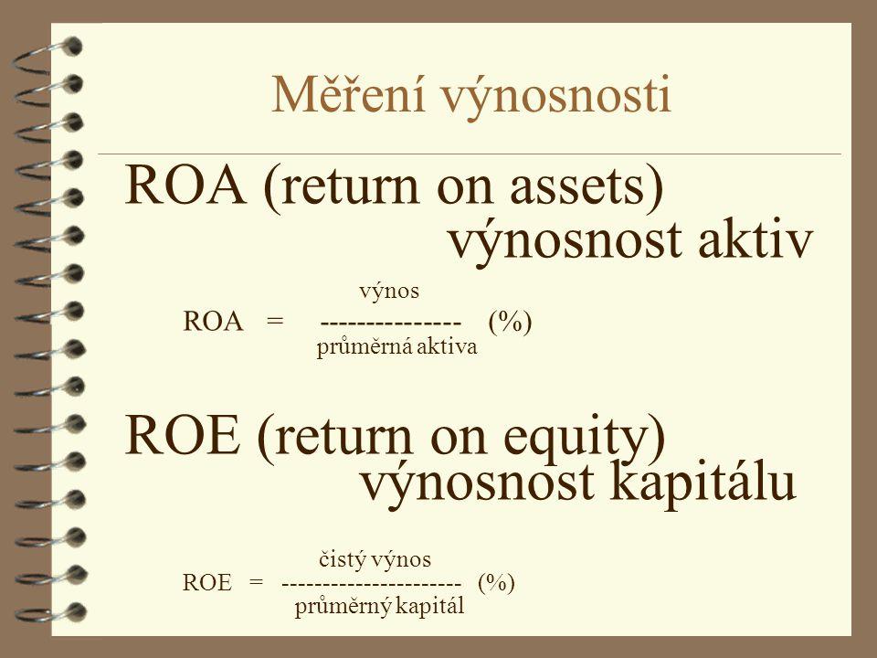 Měření výnosnosti ROA (return on assets) výnosnost aktiv výnos ROA = --------------- (%) průměrná aktiva ROE (return on equity) výnosnost kapitálu čis