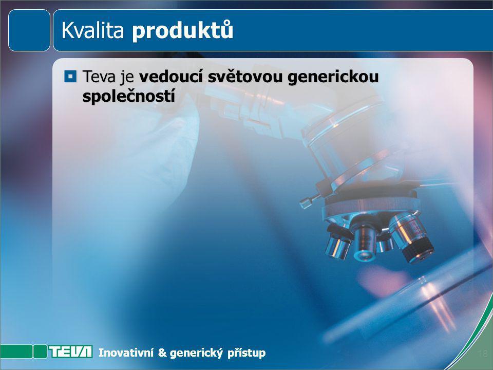 Inovativní & generický přístup 17 Kvalita produktů