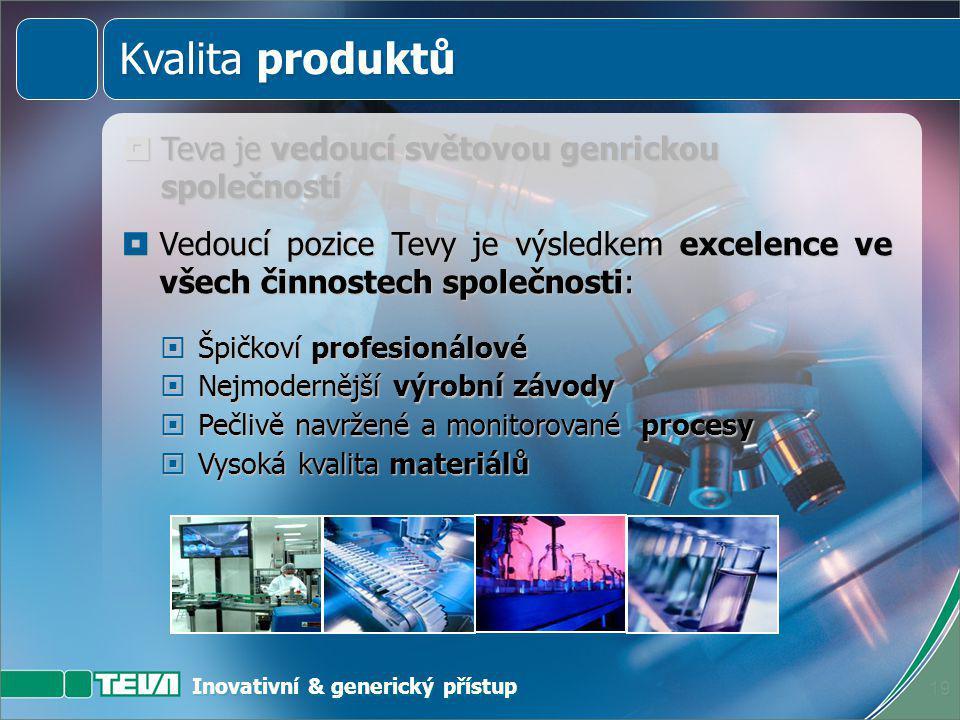Inovativní & generický přístup 18  Teva je vedoucí světovou generickou společností Kvalita produktů