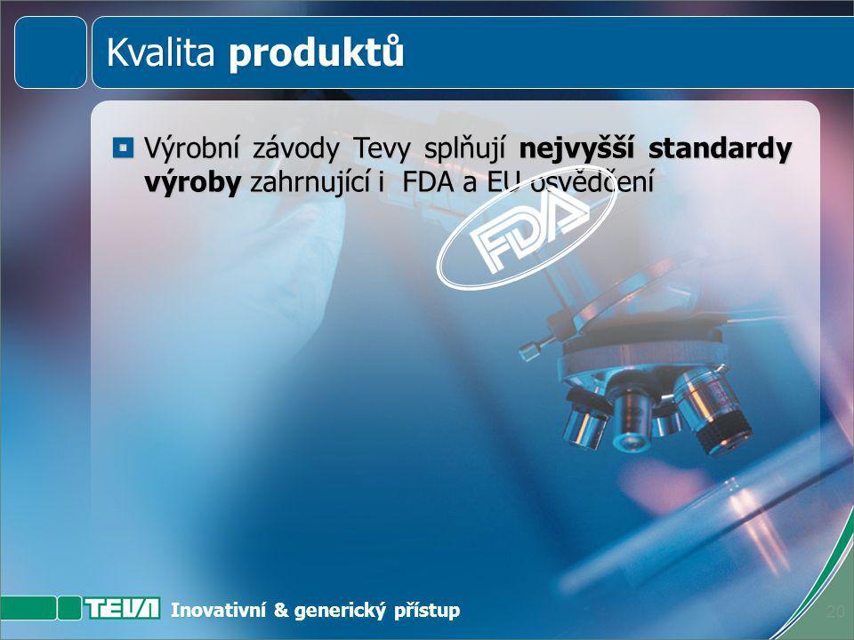 Inovativní & generický přístup 19  Špičkoví profesionálové  Pečlivě navržené a monitorované procesy  Vysoká kvalita materiálů  Nejmodernější výrob