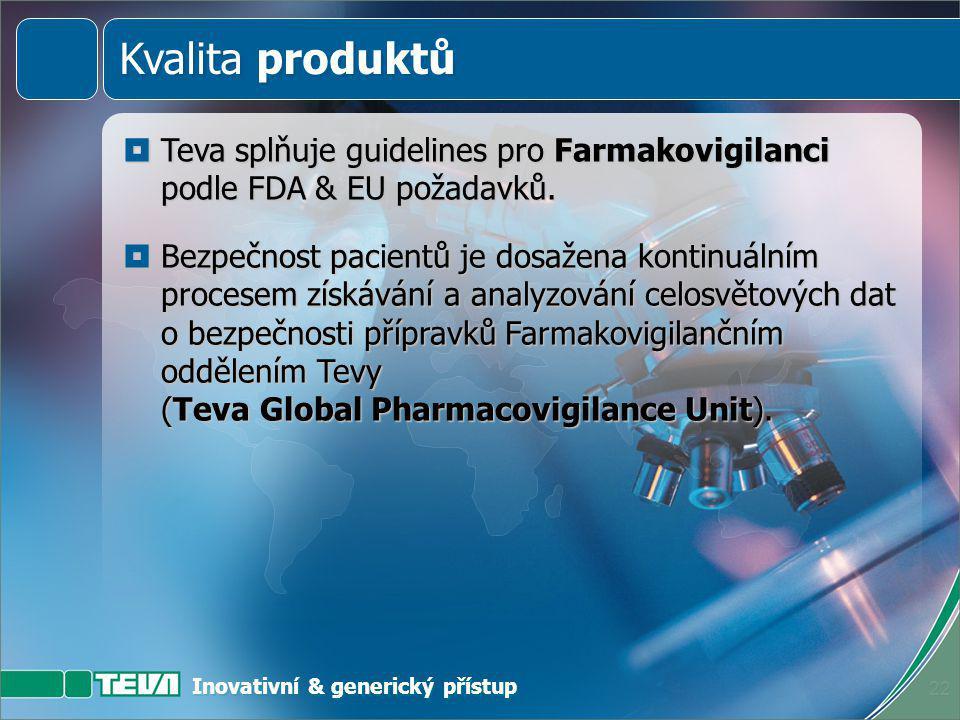 Inovativní & generický přístup 21  Závazek kvality produktů Tevy je naplňován během celého životního cyklu výrobku.  Integrace zpětné kontroly zaruč