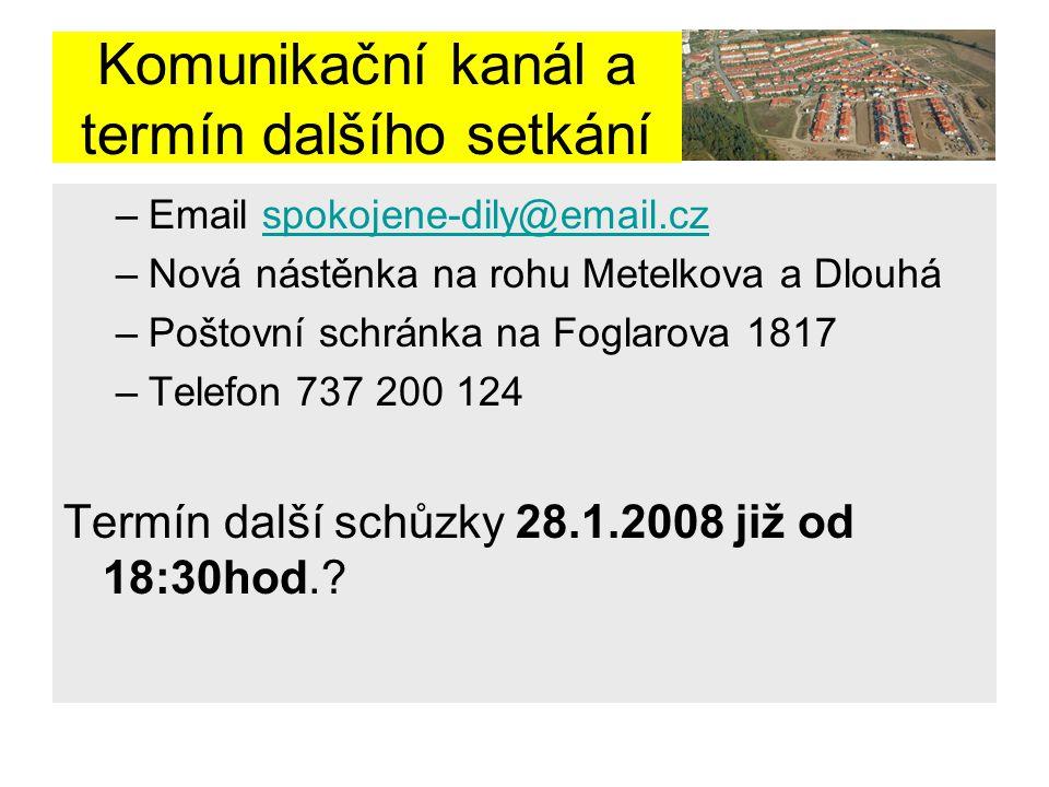 Komunikační kanál a termín dalšího setkání –Email spokojene-dily@email.czspokojene-dily@email.cz –Nová nástěnka na rohu Metelkova a Dlouhá –Poštovní s