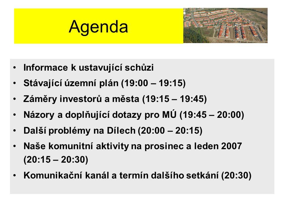 Agenda Informace k ustavující schůzi Stávající územní plán (19:00 – 19:15) Záměry investorů a města (19:15 – 19:45) Názory a doplňující dotazy pro MÚ