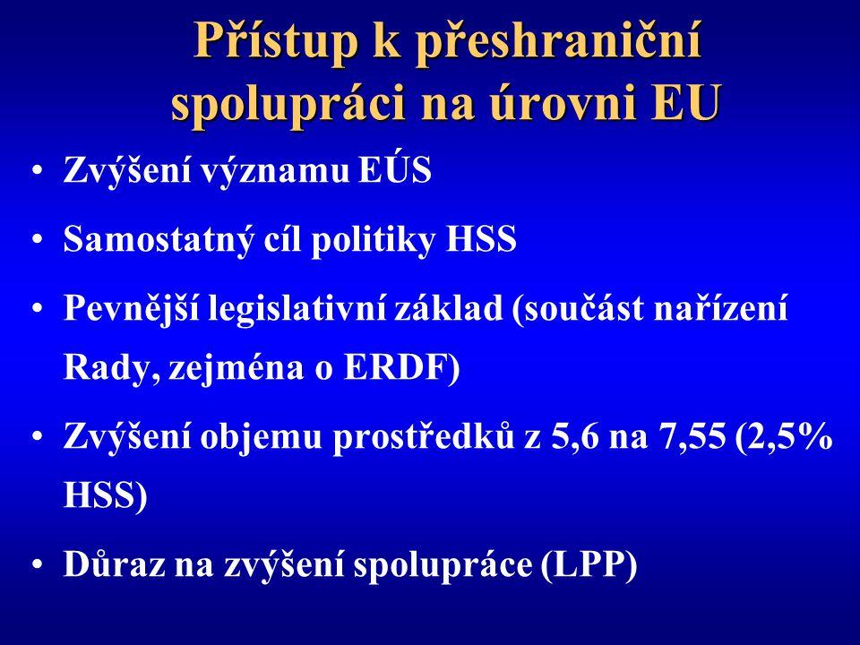 Zvýšení významu EÚS Samostatný cíl politiky HSS Pevnější legislativní základ (součást nařízení Rady, zejména o ERDF) Zvýšení objemu prostředků z 5,6 na 7,55 (2,5% HSS) Důraz na zvýšení spolupráce (LPP) Přístup k přeshraniční spolupráci na úrovni EU