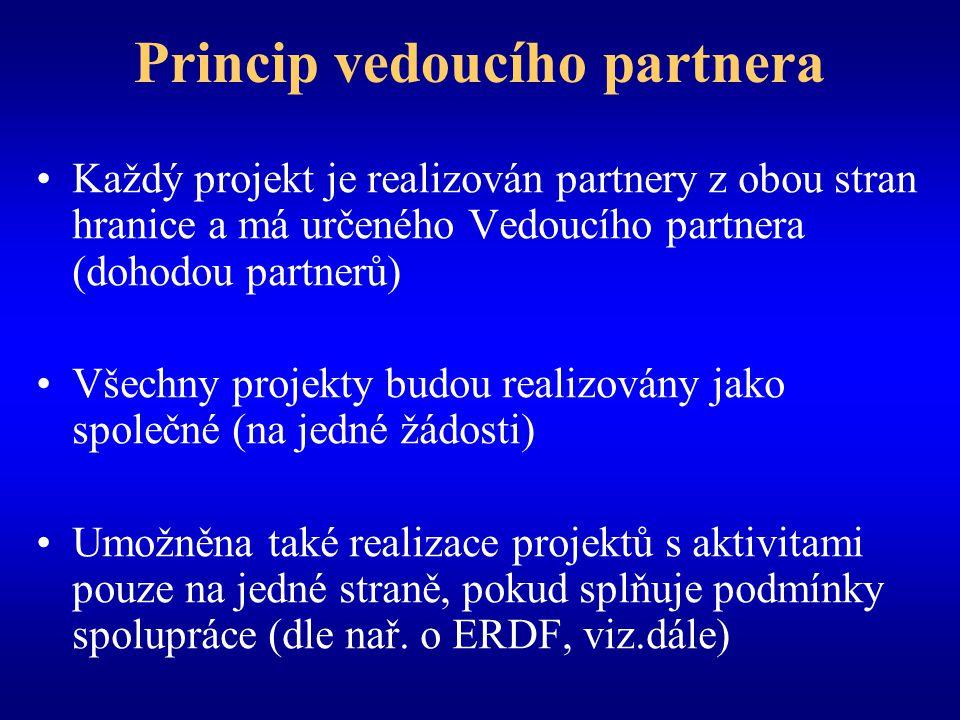 Princip vedoucího partnera Každý projekt je realizován partnery z obou stran hranice a má určeného Vedoucího partnera (dohodou partnerů) Všechny projekty budou realizovány jako společné (na jedné žádosti) Umožněna také realizace projektů s aktivitami pouze na jedné straně, pokud splňuje podmínky spolupráce (dle nař.