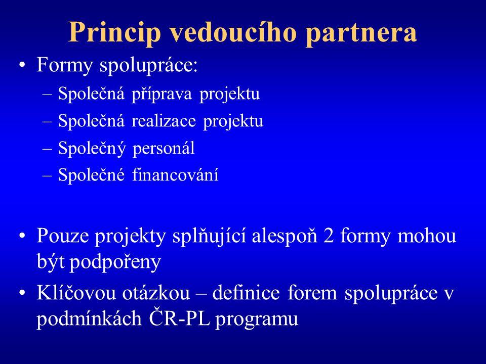 Princip vedoucího partnera Formy spolupráce: –Společná příprava projektu –Společná realizace projektu –Společný personál –Společné financování Pouze projekty splňující alespoň 2 formy mohou být podpořeny Klíčovou otázkou – definice forem spolupráce v podmínkách ČR-PL programu