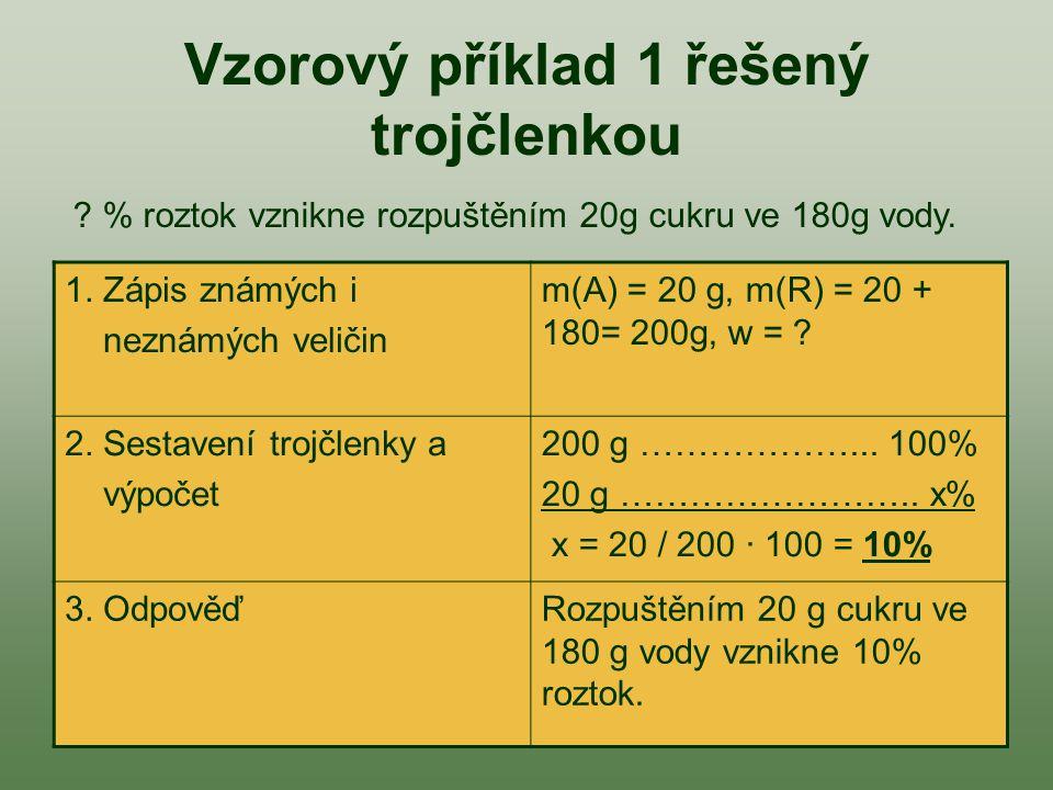Úkol 1: Podle snímku 3 nebo 4 vypočítej příklady: a/ Vypočti hmotnostní zlomek kuchyňské soli, jestliže jsme jí 5 g rozpustili v 75 g vody.