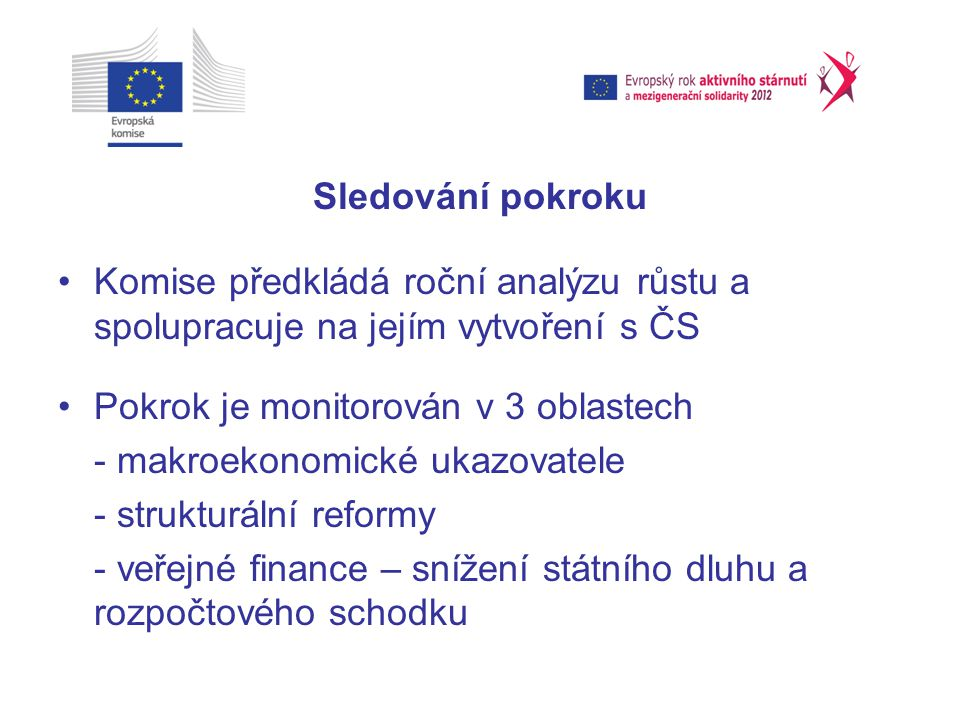 Sledování pokroku Komise předkládá roční analýzu růstu a spolupracuje na jejím vytvoření s ČS Pokrok je monitorován v 3 oblastech - makroekonomické ukazovatele - strukturální reformy - veřejné finance – snížení státního dluhu a rozpočtového schodku