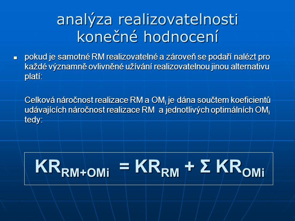 pokud je samotné RM realizovatelné a zároveň se podaří nalézt pro každé významně ovlivněné užívání realizovatelnou jinou alternativu platí: pokud je samotné RM realizovatelné a zároveň se podaří nalézt pro každé významně ovlivněné užívání realizovatelnou jinou alternativu platí: Celková náročnost realizace RM a OM i je dána součtem koeficientů udávajících náročnost realizace RM a jednotlivých optimálních OM i tedy: KR RM+OMi = KR RM + Σ KR OMi analýza realizovatelnosti konečné hodnocení