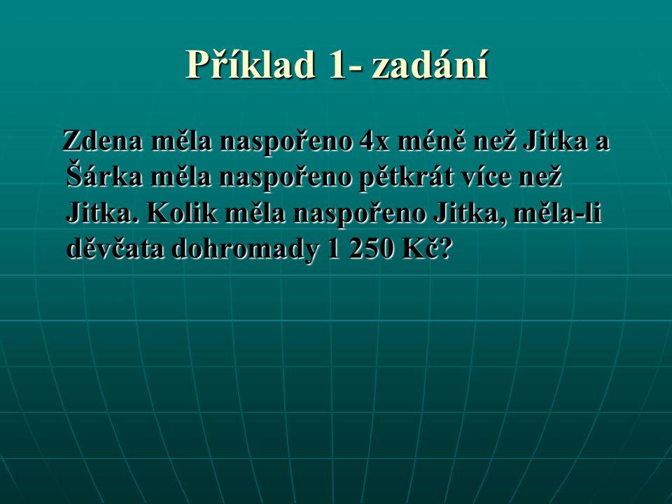 Příklad 1- zadání Zdena měla naspořeno 4x méně než Jitka a Šárka měla naspořeno pětkrát více než Jitka.